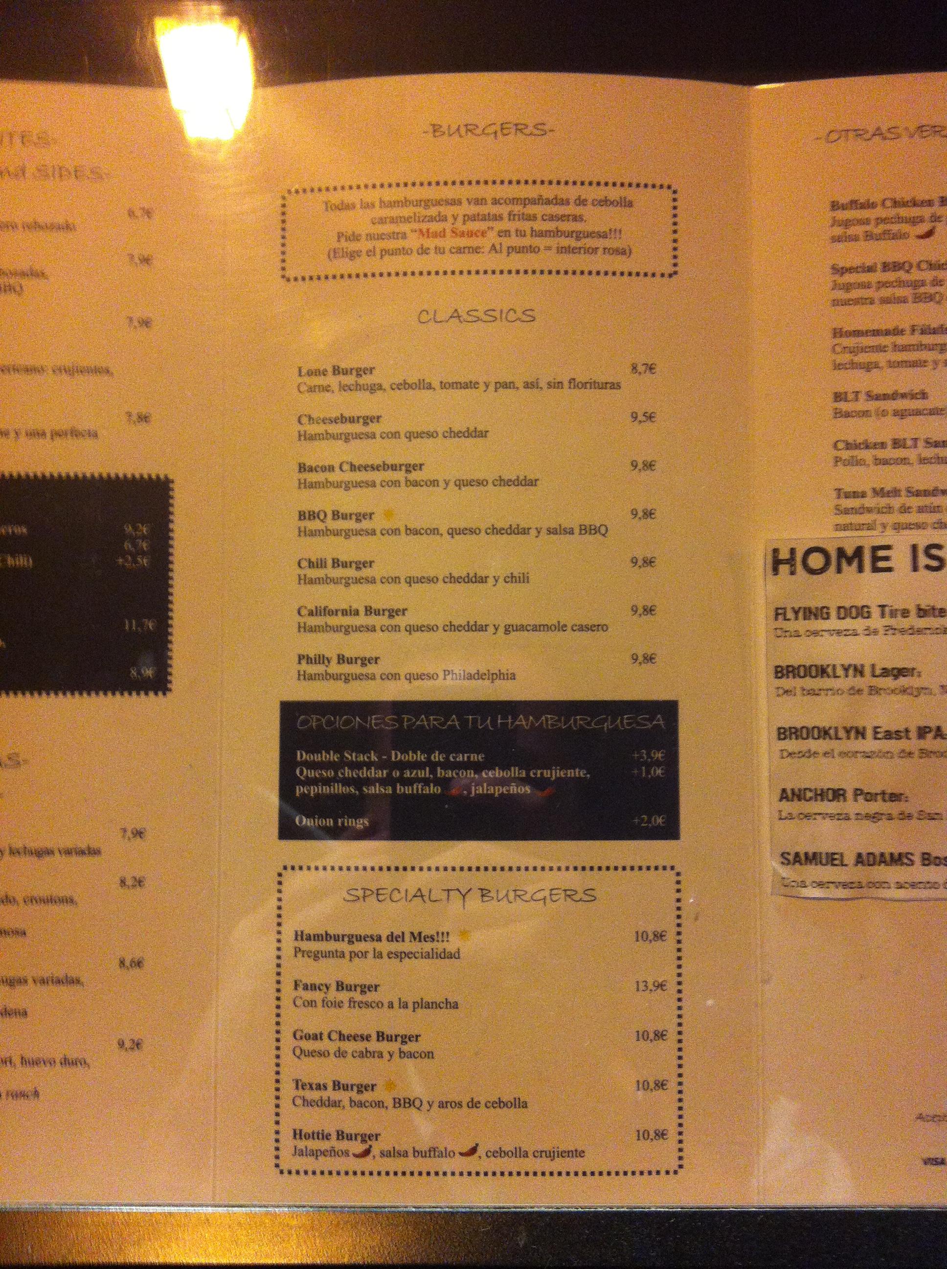 Hard Rock Cafe Madrid Precios Menu