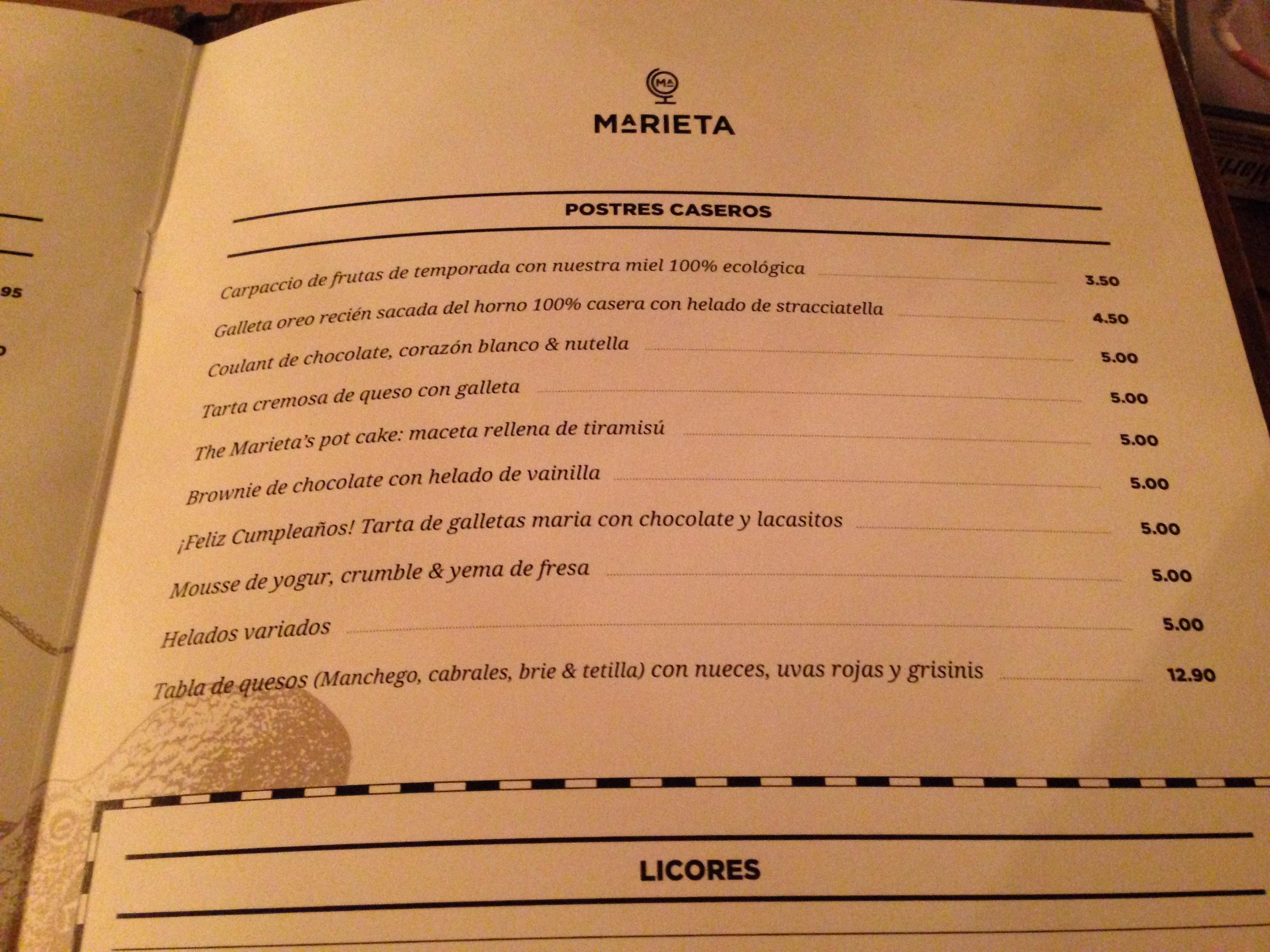Marieta carta 7 dime un restaurante - La marieta madrid ...